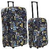 Slimbridge Leichtgewicht 2er Koffer-Set Trolley-Set Rollkoffer Reisekoffer Große XL und Handgepäck Gepäck Super Leicht mit 2 Rollen, Algarve Schwarz & Blau