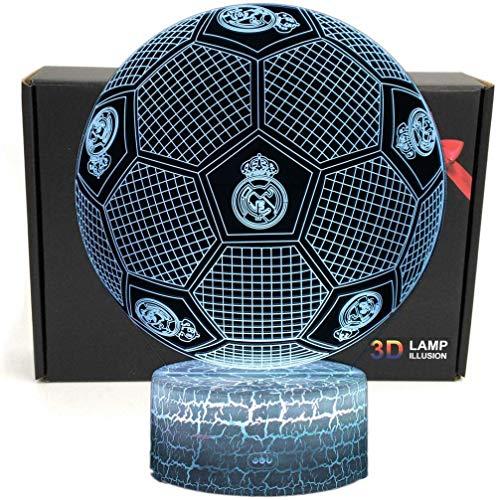 3D Football Shape 3D Optical Illusion Smart 7 colores LED Night Light Lámpara de mesa con cable de alimentación USB, para el regalo del Real Madrid Football Fans