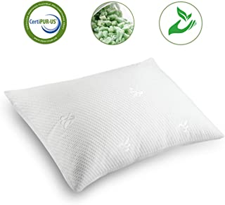 Cooling Bed Pillows for Sleeping Shredded Memory Foam Pillow Queen Size(20x30) with Washable Pillow Cover,Great Support and Fluffy