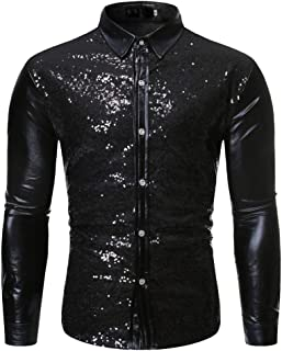 Men's Dress Shirt Sequins Button Down T-Shirts Long Sleeve Nightclub Tops Disco Party Costume
