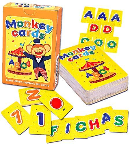 Q honey Flash Cards de Monos para Niños   hasta 3 Fichas con Cada Letra, 10 Números, 7 Colores del Arcoíris   Abecedario para Niños   Aprende el ABC con Juegos Educativos (1. Español)