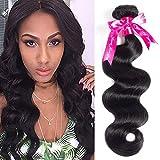 Beauty Princess Hair Brazilian Body Wave 1 Bundle 8A Unprocessed Virgin Human Hair Weaves 95-100g/bundle Natural Black Color (16inh, Black)