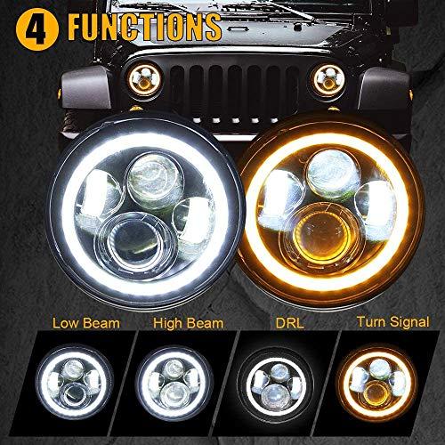 SUNPIE 7 inch White Halo DRL&Amber Turn Signal IP67 Waterproof LED Headlights for J eep Wrangler 2007-2018 JK/JKU Rubicon, Sahara,...