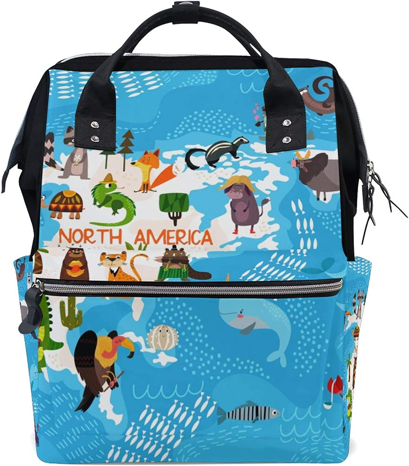 e04988a54174 ColourLife Diaper Backpack Animal North America Map Casual ...