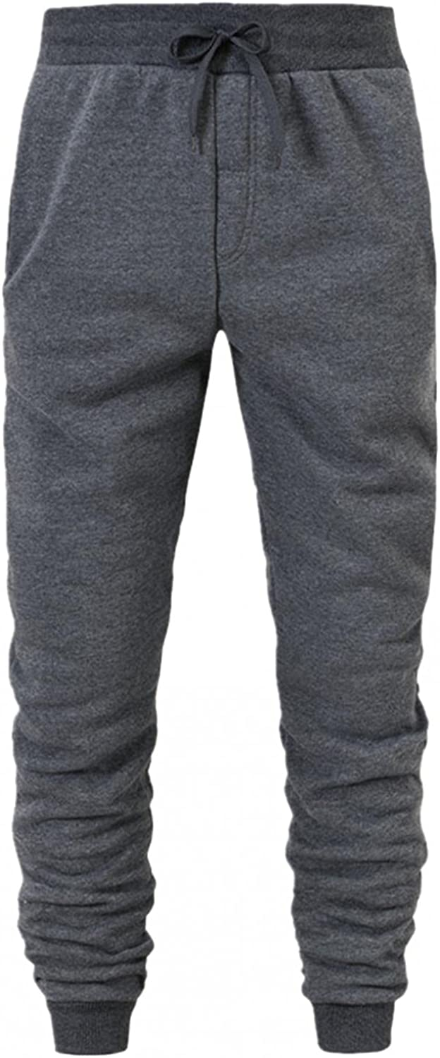 WOSHUAI Men's Lightweight Athletic Pants with Elastic Drawstring Casual Slim Fit Straight Sweatpants Jogging Jersey Pants