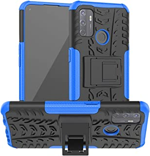 OPPO A53 Case, Ikwcase Heavy Duty Armor Tough Hybrid Shockproof Dual Layer Kickstand Protective Case Cover for OPPO A53 Blue