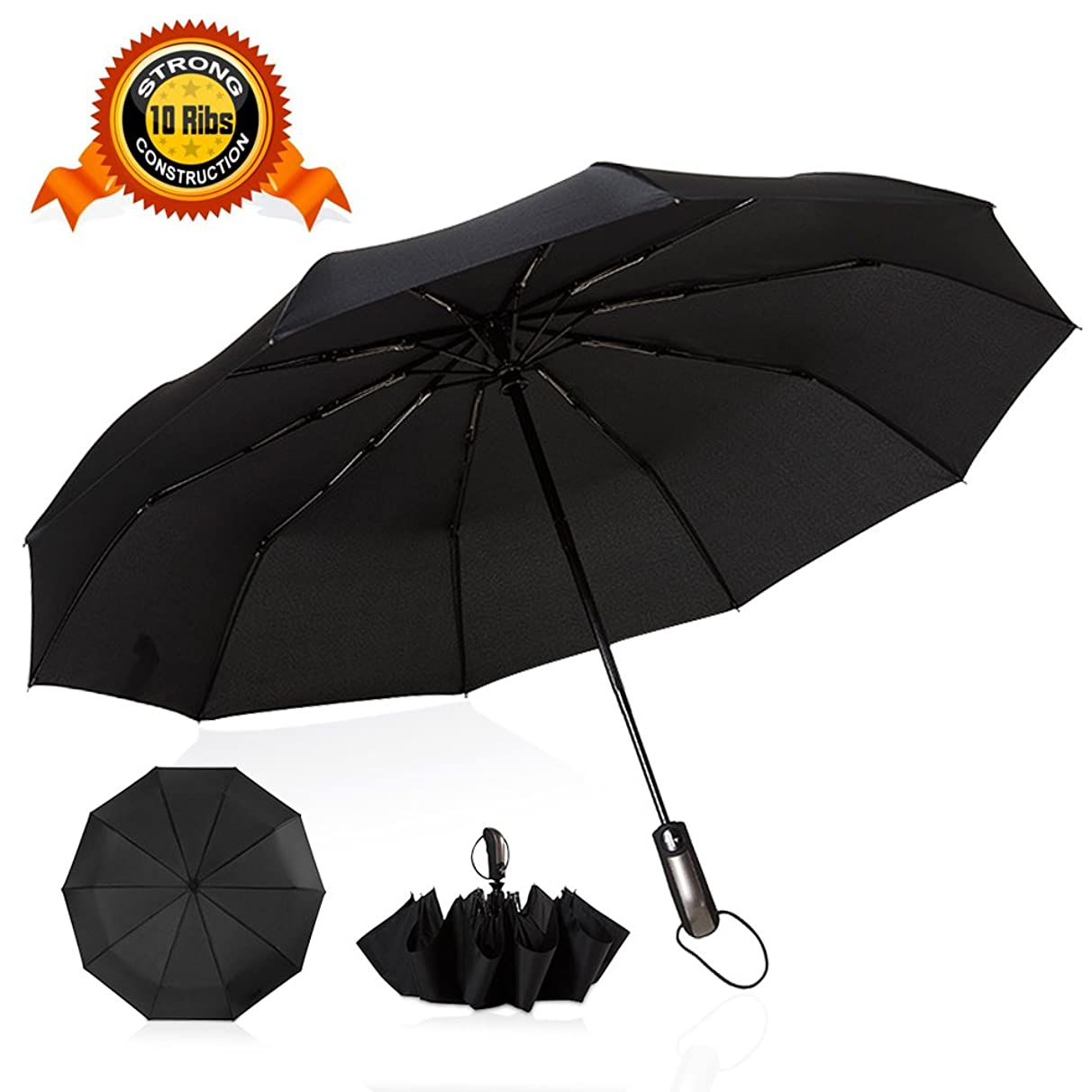 Bukm Travel Umbrella, Upgraded 10 Ribs Strong Construction Windproof Golf Umbrella, Compact Umbrella with Teflon Coating,Auto Open Close