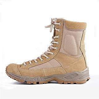Jason.Martins Men Military Combat Boots for Men Outdoor Hiking Boot Lace up Suede& Faux Leather Split Joint Round Cap Toe Platform Anti-Slip Men Boots Men