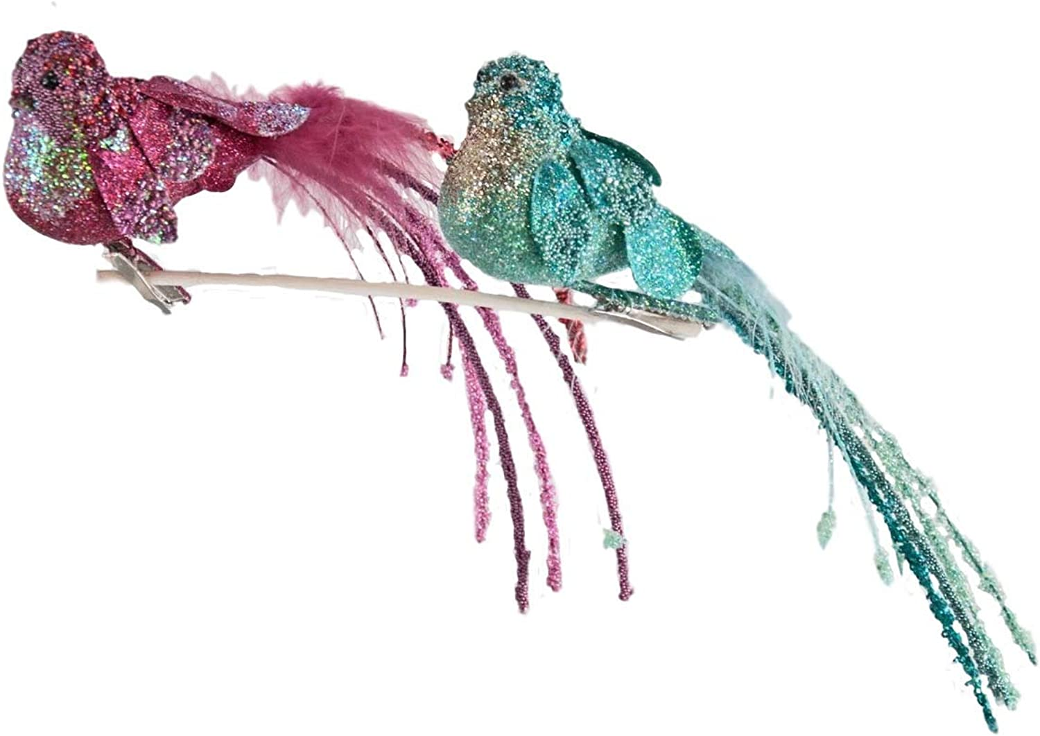 Katherine's Collection Pink and Turquoise Bird Ornaments Set of Two