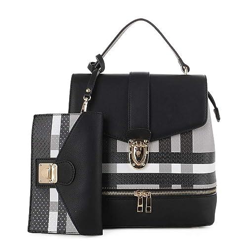 Fashion Casual Faux Leather Shoulder Bag Mini Backpack School Bag for Women 2pc | Black/Black