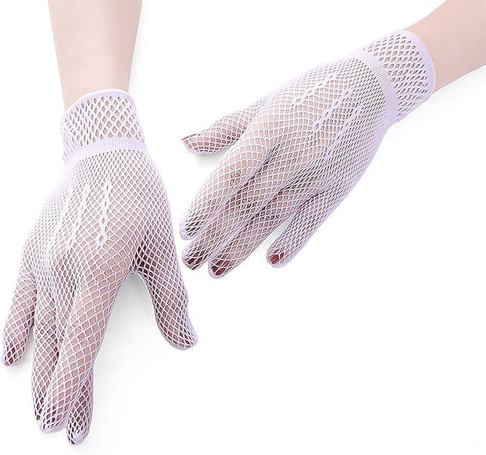 MiDee Full Finger Fishnet Gloves Dancing Prom Ceremonial Wedding Gloves