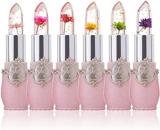 Flower Crystal Jelly Lipstick, Staron Magic Temperature Change Long-lasting Moisturizer Beauty Bright Makeup Flower Lip Stick Display Lipstick for Ladies (A)