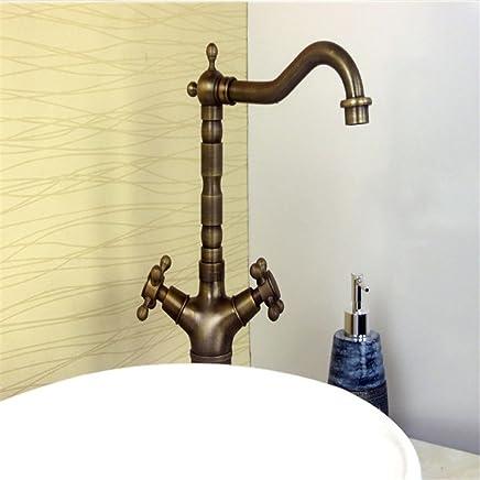 Forniture sanitarie e igieniche MGADERO Miscelatore per Lavabo Rubinetti per lavandini bagno Ottone moderno di acqua calda e fredda
