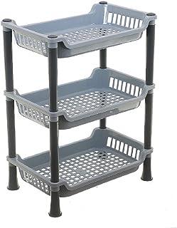 رف سلة تخزين من البلاستيك متعدد الاستخدامات ثلاثي الطبقات للمطبخ من كوبر اندستريز، مقاس 28×19×37 سم، رمادي