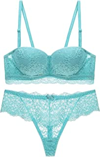 744964bdda Women s Lace Bra Set Sexy Lingerie Bra and Panties Push up Underwire Bra  for Girl
