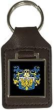 Allison Heraldry Surname Coat Of Arms Brown Leather Keyring Engraved