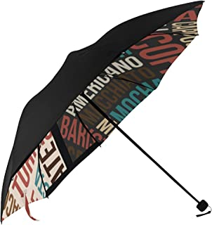 Letter Fashion Design Retro Modern Digital Mashup Doodle Style Compact Travel Umbrella Parasol Anti Uv Foldable Umbrellas(underside Printing) As Best Present For Women Uv Protection