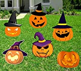 NA Zspace Halloween Decorations Outdoor, 6 PC Pumpkin Silhouette Yard Signs with Stakes, Halloween Prop, Family Friendly Trick or Treat Party Plastic Decor
