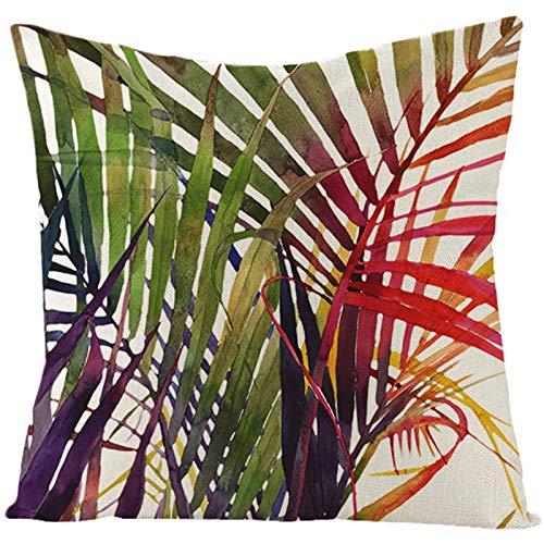 Adokiss Funda de cojín de lino con diseño de hojas de palmera, suave, cuadrada, para sofá o dormitorio, sin relleno, color verde, morado y rojo, 40 x 40 cm, estilo 14