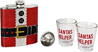 TMD Holdings TMD0654 Holiday Spirits Santa's Helper Flask and Shot Glass Set, Red