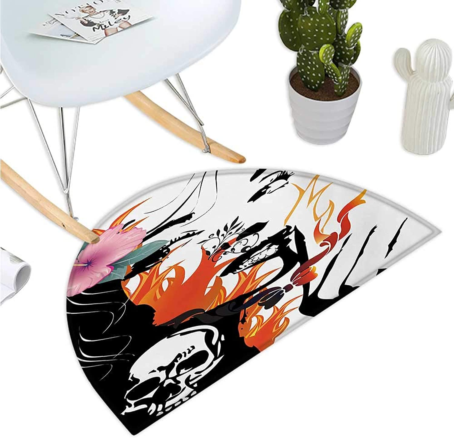 Tattoo Semicircular Cushion Attractive Women with Pink Flower in her Hair Near a Skull Design Halfmoon doormats H 43.3  xD 64.9  orange Pink Black and White