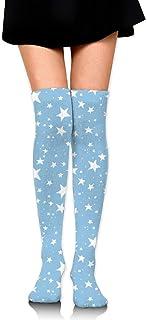Royal Legacy, Mujeres Niñas Rodillas Calcetines altos Dibujado a mano Patrón de estrellas azules Muslo Medias largas de tubo 60 CM / 23,6 pulgadas