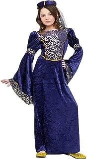 Renaissance Maiden Kids Costume Blue / Gold Small