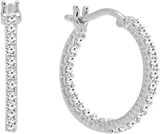 0.45 Carat (ctw) 10K Gold Round White Diamond Fine In And Out Hoop Earrings 1/2 CT