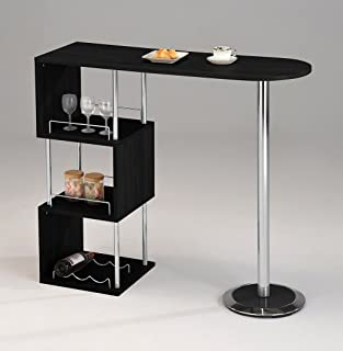 Kings Brand Furniture - Minorca Modern Wine Bar Table w/Shelves (Bkack)