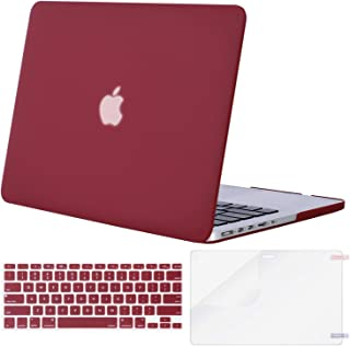 MOSISO Case Only Compatible with Older Version MacBook Pro Retina 13 inch (Models: A1502 & A1425) (Release 2015 - end 2012), Plastic Hard Shell & Keyboard Cover & Screen Protector, Wine Red