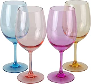 Lily's Home Unbreakable Acrylic Wine Glasses, Made of Shatterproof Tritan Plastic and Ideal for Indoor and Outdoor Use, Reusable. Mixed Colors - Light (20oz each, Set of 4)