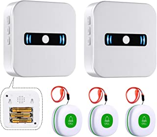 Caregiver Pagers Wireless Call Button for Elderly Patient Personal in Home Alert System (2 Receiver+3buttons(Green))