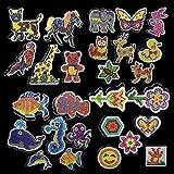 Ruluti 6pcs Puzzle Patrones Plantillas Y Tableros De Planchado Papel Y Plástico De Pinzas De 5 Mm Hama Beads Puzzle 3D De Juguetes para Los Niños