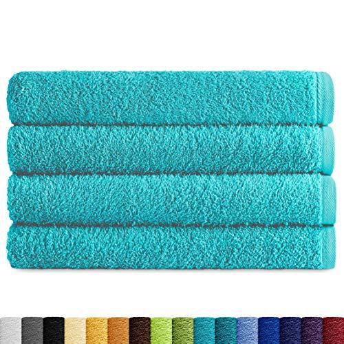 Eiffel Textile Juegos de Toallas Calidad Rizo 400 gr, Algodón Egipcio 100%, Aguamarina, Lavabo 50x100 cm, 4 Unidades