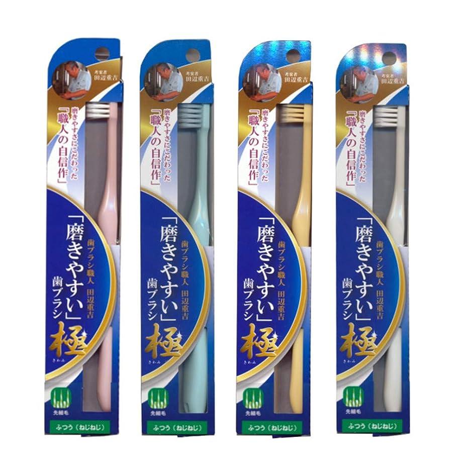 親楽観的航海の磨きやすい歯ブラシ極 (ふつう ねじねじ) LT-45×12本セット(ピンク×3、ブルー×3、ホワイト×3、イエロー×3) 先細毛