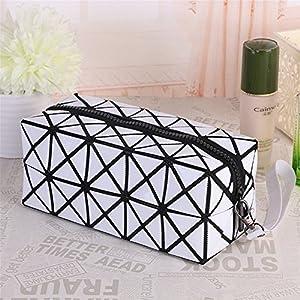 613v3q0hxAL. SS300  - (Azul) Bolsa de cosmética para el maquillaje, Geométrica plegable Rhombus plegable Grid Cube bolso, herramienta de…
