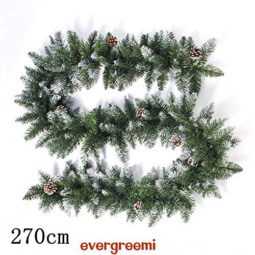 evergreemi Ghirlanda Natalizia 2020, Ghirlanda di pigne di Natale, Rattan Natalizio per Scale, caminetti, Decorazione di Porte e finestre, 270 cm