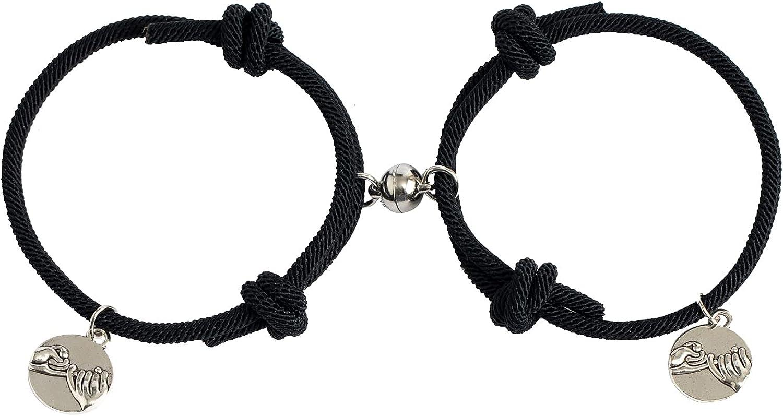 Magnetic Couples Bracelets Set for Women Mens Adjustable Rope Ma