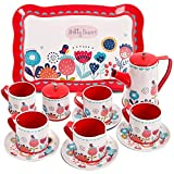 Buyger Childrens Tin Tea Set Toy, Afternoon Tea Sets for Children Toddlers, Pretend Role Play Toy, Over 3 Year Old Girl Gifts