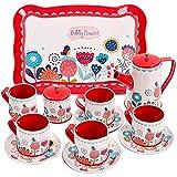Buyger Kinder Teeservice Tee-Set Puppengeschirr Kaffeeservice Kinderküche Geschirr Küche Spielzeug Rollenspiele für Kinder Mädchen (Rot)