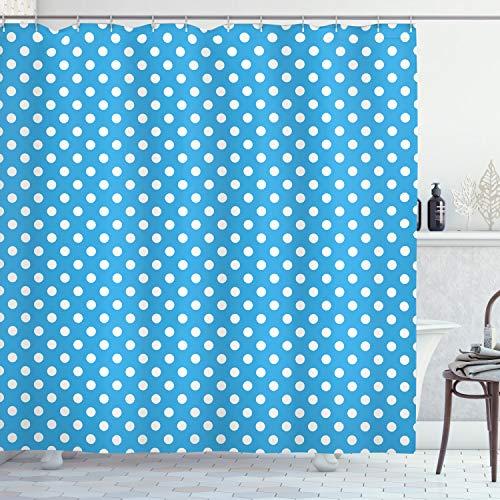 ABAKUHAUS Blau Duschvorhang, Retro Polka Dots Geometrisch, mit 12 Ringe Set Wasserdicht Stielvoll Modern Farbfest & Schimmel Resistent, 175x200 cm, Weiß Blau