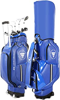 Portable Golf Club Bags with Wheels, Pu Waterproof and Lightweight Golf Club Cart BagsSunday Bag Can Hold 14 Clubs, Shoe B...