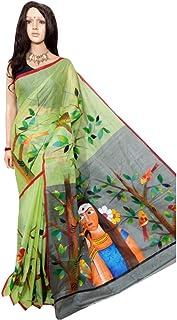 Kerala Tussor 143, Sari Tradicional de Seda Pintada a Mano con diseño Indio de Saree, tejedores de Bengala Hechos a Mano