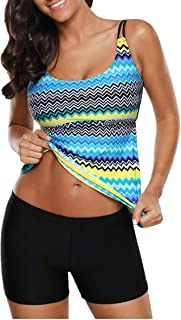 EVALESS Women 2 Pieces Layered Style Printed Tankini with Boy Short Racerback Swimsuits
