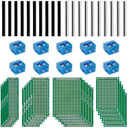 Anpro 20 Pezzi 5x7 4x6 3x7 2x8CM PCB Scheda Prototipo Doppio Lato, Circuito Stampato Prototipo PCB Board Universale per Fai Da Te Saldatura e Progetto Elettronico