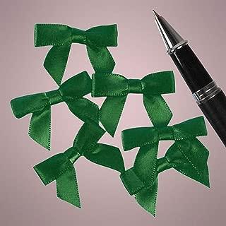 Mini Emerald Green Satin Bows - 1 3/8 in. x 1in. - 50 Pack