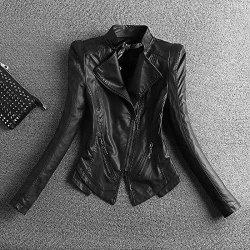 SCLDX Damen Lederjacke,Mode Schwarz Motorrad Kunstleder Jacke Frauen Reißverschlüsse Biker Ledermantel Plus Size Schlanke Frauenjacken Oberbekleidung Biker Tops Kleidung Für Frauen, Schwarz, 4XL