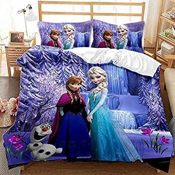 Haonsy Ladies Girls Bedding Sets Queen Size Frozen Elsa and Anna Comforter Cover Ice and Snow Adventure Bed Set 3 Pieces  1 Duvet Cover and 2 Pillowshams