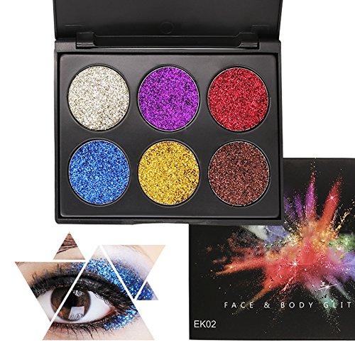 Glitter Polvo Paleta de Maquillaje Profesional, KRABICE 6 Colores Purpurina Gel Arte...
