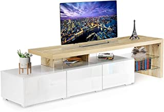 TV Cabinet Unit Entertainment TV Stand Wooden 3 Drawers & Shelf Storage High Gloss Front 180cm Oak and White